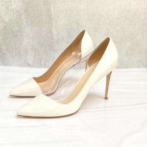 FRANCESCO RUSSO White Leather and PVC Inset Heels